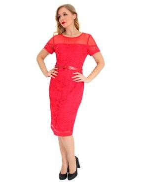 717c8c7f2 Vestido Margaret rojo de encaje formal con cinturó.