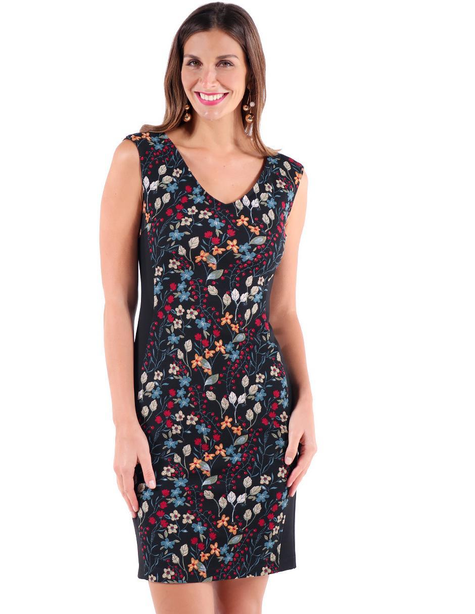 a51d25c542 Vestido Duplan Petite negro con diseño floral formal